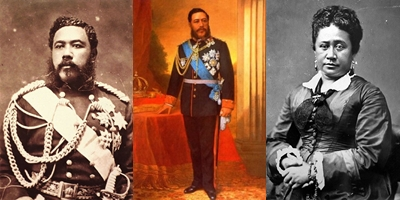 El rey David Kalakaua y su esposa la reina Esther Kapiolani
